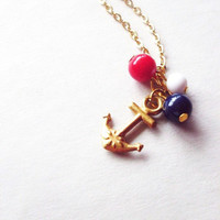 LAST ONE - Gold Anchor Charm Necklace Gold Anchor Necklace Anchor Necklace Anchor Charm Necklace Gold Nautical Charm Necklace Cute  Adorable
