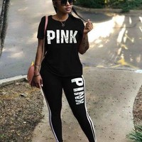 PINK Victoria's Secret Top Sweater Pullover Pants Trousers Set Two-Piece