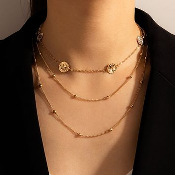 Multilayer Chain Necklace for Women Trendy Coin Geoemtric Adjustable Alloy Metal Party Jewelry Collar