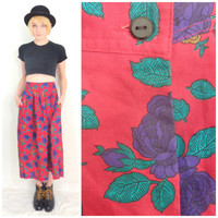 80s vintage high waisted circle skirt purple rose skirt with pockets retro knee length red romantic skirt size small/medium