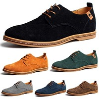 Men Shoes New Mens Casual Dress/Formal Oxfords Shoes Wing Tip Suede Leather Flats Lace Up Big Size Shoes 38-48