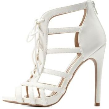 White Strappy Lace-Up Caged Heels by Charlotte Russe
