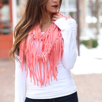 Coral Fringed Infinity Scarf - Modern Vintage Boutique