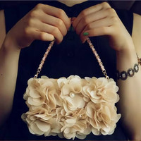3D Beige Rose Peony Cloth Flower Flip Wallet Purse Pearl Phone Case iPhone 6 6S Plus 5S