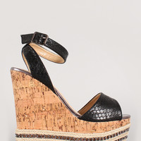 Liliana Snake Embossed Chain Platform Wedge