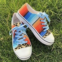 New winter casual flat bottom tie-dye color matching leopard print couple canvas shoes rainbow gradient shoessky blue orange&red