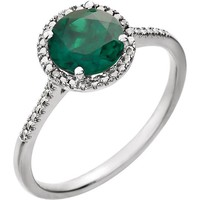 Sterling Silver Created Emerald & .01 CTW Diamond Halo-Style Ring