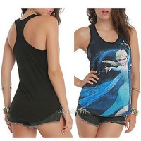 Licensed cool NEW Disney FROZEN SNOW QUEEN ELSA ICE DANCING Racerback Tank Top Blouse  SMALL