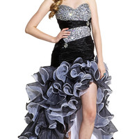 Beaded Organza High-Low Ruffle Prom Pageant Dance Dress