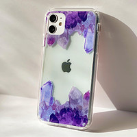 Purple Crystal Cluster Clear Phone Case