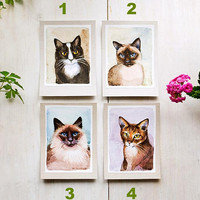 Original watercolor painting cats cards, home decor for cats lovers, gift for pet lover, cats breeds, siamese thai, balinese, abyssinian