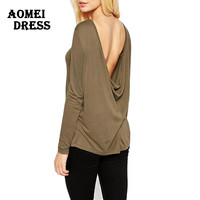 Lady Long Sleeve New Tee Shirt Solid Khaki Gray Color Open Back Spring Summer Casual t shirt women Blusa Tops Clothes tshirt