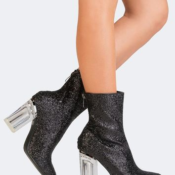 Glitter Clear Heel Booties