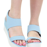 BLUE AND WHITE PLATFORM ELASTIC SANDAL