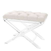 White Button Tufted Stool | Eichholtz Bruno