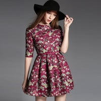 Floral Half Sleeve High Waist Pleated A-Line Mini Dress