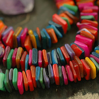 Rainbow Squares: Dyed Shell Freeform Square Disc Beads / Approx 2x8mm / Bright, Jewelry Making, Craft Supplies / Bright Rainbow Spacer Beads
