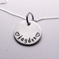 Hand Stamped Name Charm - Mother's / Mommy Necklace