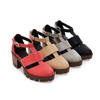 T Straps Women Sandals Chunky Heel Pumps with Buckle Platform High-heeled Shoes