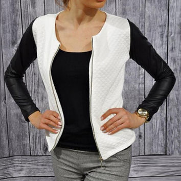 Women Slim PU Leather Jacket Casual Zip Long Sleeve Chic Stylish Tops Blouse Outwear Coat Patchwork Sport Jackets
