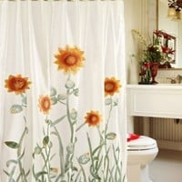 Chezmoi Collection White/Green/Yellow 3D Sunflower Shower Curtain with Liner and 12-Hook Set:Amazon:Home & Kitchen