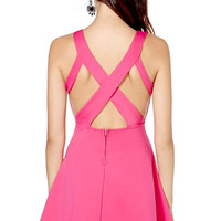 Hot Pink V Neck Strappy Back Mini Skater Dress