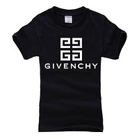Givenchy 2019 new high quality classic letter print round neck half sleeve t-shirt Black