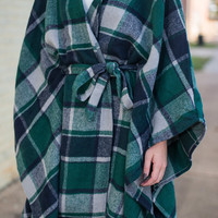 Chic Squad Open Poncho, Forest Green