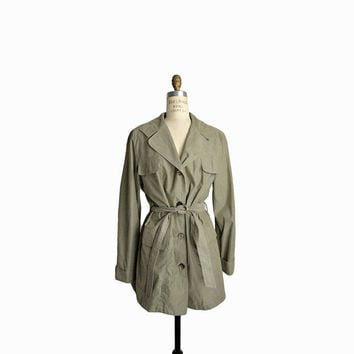 Vintage Short Trench in Sage Green / 90s Yuppy Trench Coat / Army Green Jacket - women's medium
