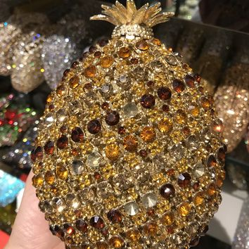 Pineapple Crystal Rhinestone Miniaudiere Clutch Bag