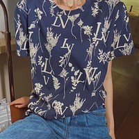 LV 2020 new floral letter logo round neck half sleeve T-shirt