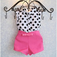 Girls Clothes Dot Blouse +Pink Pants Suit Bow Baby Girls Clothing Set Kids Clothes