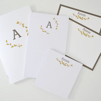 Personalized Stationery Set with Floral Illustrations with Journal, Notepads, & Cards, Monogrammed Stationery Gift Set