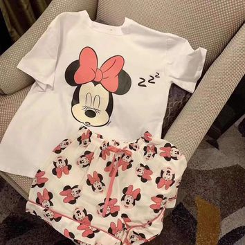 Fashion Casual Clover Mickey Mouse Letter Print Bat Sleeve Short Sleeve Set Two-Piece Nightclothes