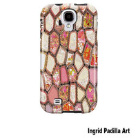 Samsung Galaxy S4 Case, Cells in Pink, Funky, Abstract, Art, GalaxyS4 case, phone cases, by Ingrid