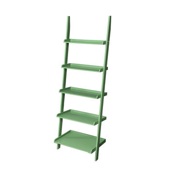 Green 5-Shelf Ladder Bookcase Display Stand