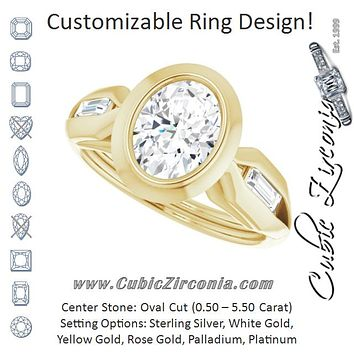 Cubic Zirconia Engagement Ring- The Claudelle (Customizable Bezel-set Oval Cut Design with Wide Split Band & Tension-Channel Baguette Accents)