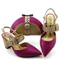 New Shoes Woman Platform For Ladies Design Shoes And Bag Set Decorated With Rhineston Metal Decoration