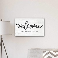 """Personalized Welcome Modern Farmhouse 14"""" x 24"""" Canvas Sign"""