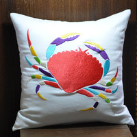 Summer Crab Decorative Pillow 18 x 18, White Linen with Colorful Crab Embroidery, Beach Pillow, Cottage Pillow, Couch Pillow