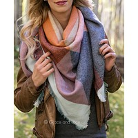 Grace & Lace Blanket Scarf/Pinned Poncho (Terracotta)