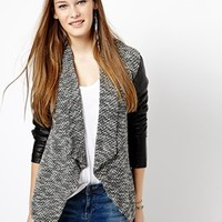 New Look Waterfall Jacket With Leather Look Sleeve