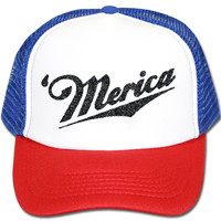 'Merica Red White And Blue Trucker Hat
