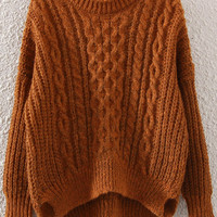 Brown Long Sleeve Sweater