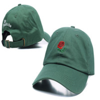 Green The Hundreds Rose Embroidered Unisex Adjustable Cotton Sports Cap Hat