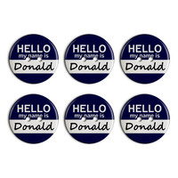 Donald Hello My Name Is Plastic Resin Button Set of 6