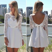2014New Arrival Long Sleeve Lace Patchwork Dress Round Neck Heart Backless with Bow Sexy White Dress women Summer dress vestidos-in Dresses from Women's Clothing & Accessories on Aliexpress.com | Alibaba Group