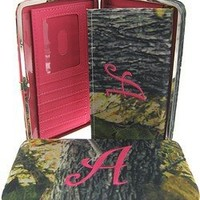 Canvas Camo Print Initial Flat Clutch Wallet - You Choose Your Initial (Letter A)