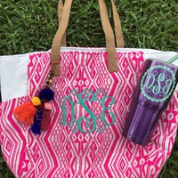 Monogrammed Pom Pom Tote and Cup Bundle