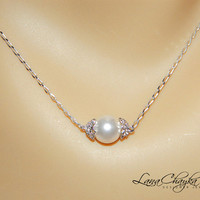 Wedding Bridal Swarovski Cream Ivory Pearl Necklace 925 Sterling Silver Chain FREE US Shipping